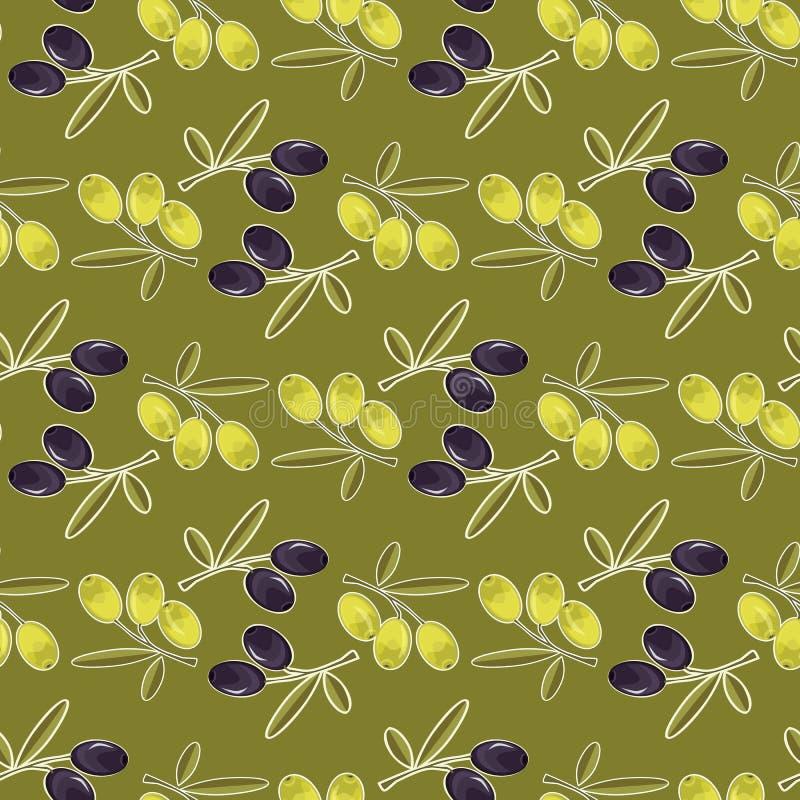 Fondo senza cuciture del modello verde oliva con le foglie verde oliva royalty illustrazione gratis