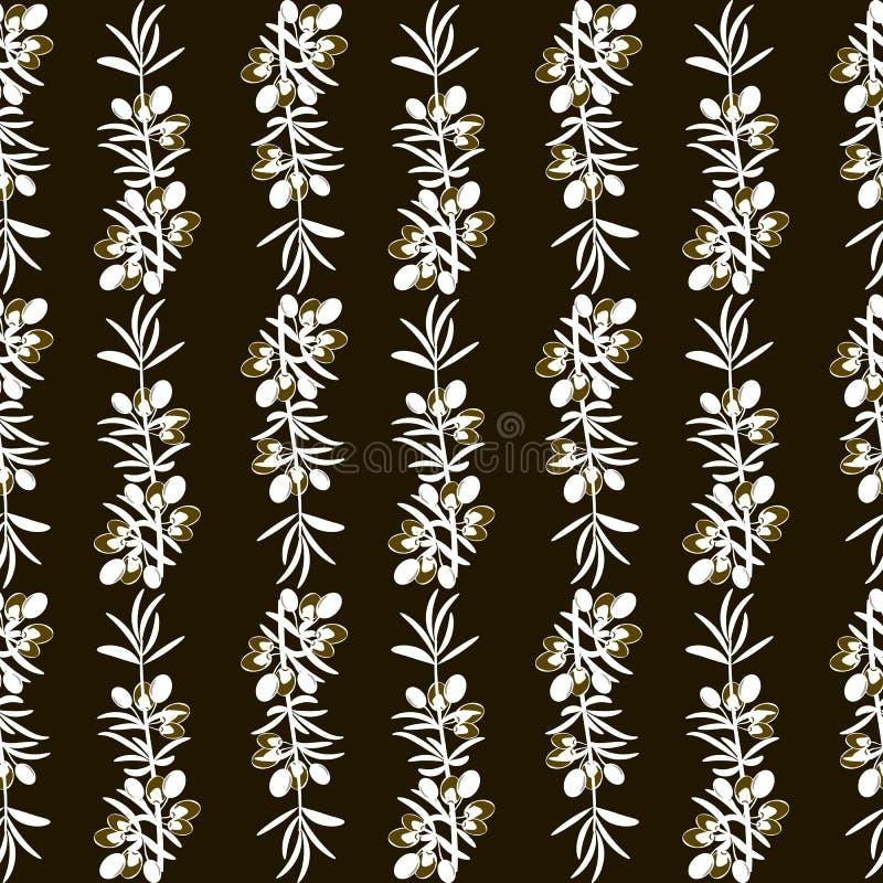 Fondo senza cuciture del modello verde oliva con le foglie verde oliva illustrazione di stock