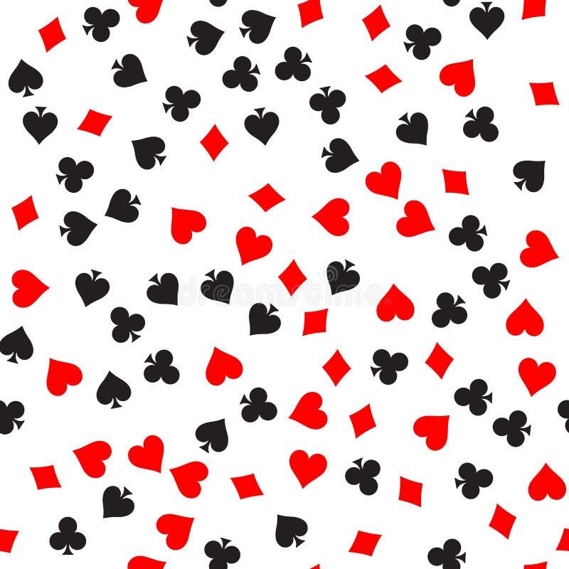 Fondo senza cuciture del modello del vestito della carta della mazza Vanghe e club neri Cuori e singns rossi dei diamanti Vettore illustrazione di stock