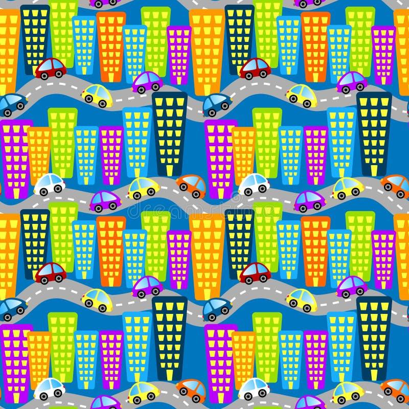 Fondo senza cuciture del traffico cittadino di notte royalty illustrazione gratis