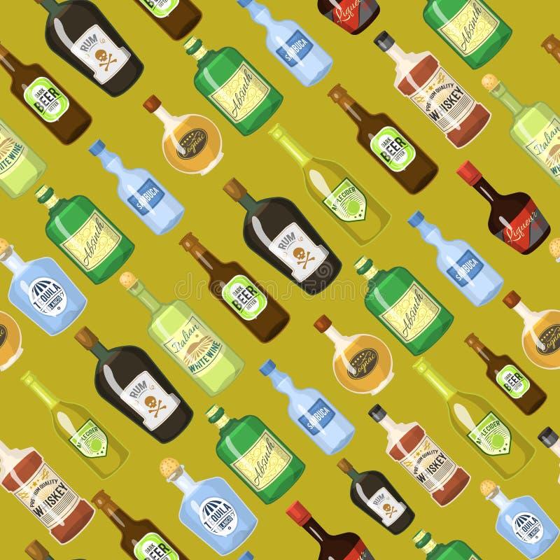 Fondo senza cuciture dell'alcool con l'illustrazione di vettore del vino e delle bottiglie e di vetro del cocktail Bevanda del ri royalty illustrazione gratis