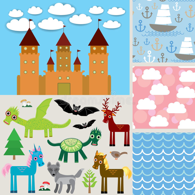 Fondo senza cuciture dell'insieme 3 Castello, animali favolosi Vettore illustrazione vettoriale
