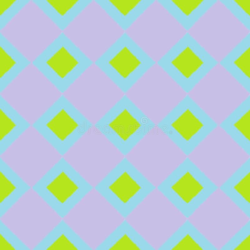 Fondo senza cuciture della carta da parati con i quadrati verdi e porpora immagine stock