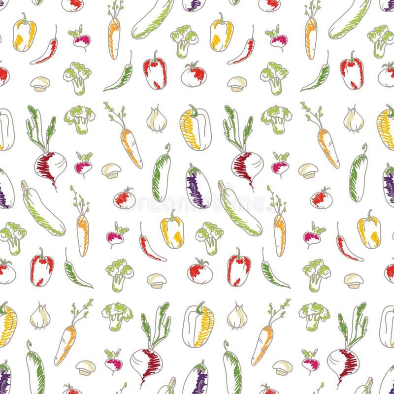 Fondo senza cuciture della cucina delle verdure illustrazione di stock