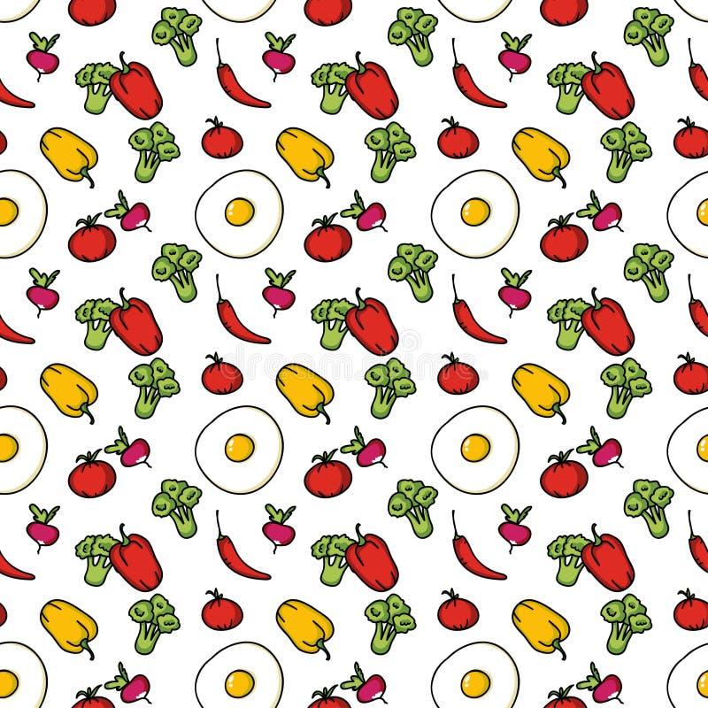 Fondo senza cuciture della cucina delle verdure illustrazione vettoriale