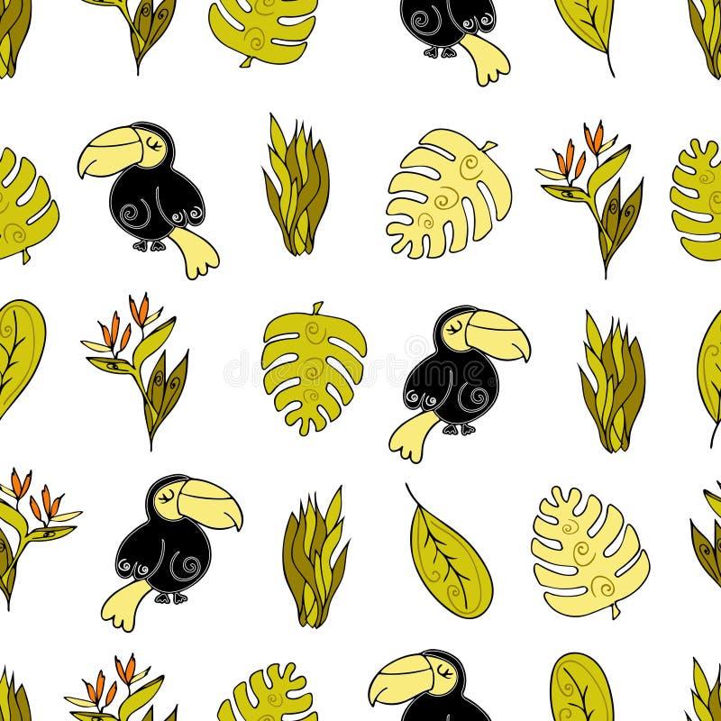 Fondo senza cuciture della giungla, Africa Uccello del tucano, monstera a royalty illustrazione gratis