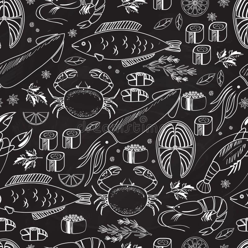 Fondo senza cuciture della lavagna del pesce e dei frutti di mare illustrazione di stock