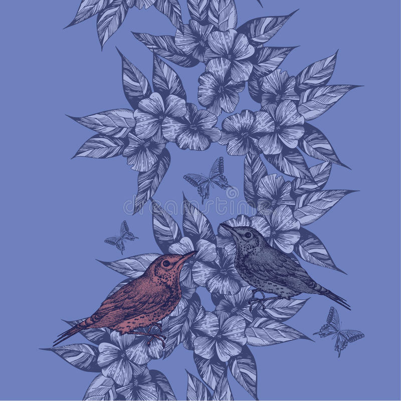 Fondo senza cuciture della primavera con gli uccelli e le farfalle, a mano tiraggio royalty illustrazione gratis