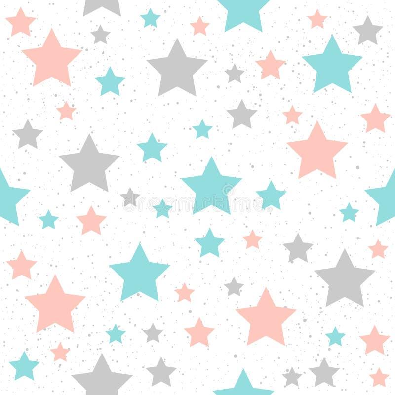 Fondo senza cuciture della stella pastello molle Stella grigia, rosa e blu illustrazione di stock
