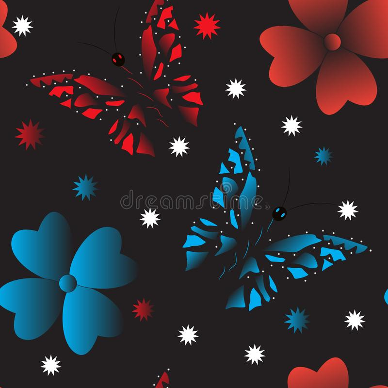 Fondo senza cuciture delle farfalle variopinte su fondo nero illustrazione vettoriale
