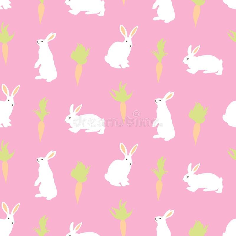 Fondo senza cuciture di giorno di Pasqua felice Conigli e carote di coniglietto bianchi svegli di vettore su fondo rosa Disegnato illustrazione vettoriale
