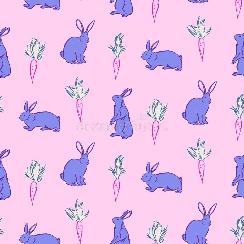 Fondo senza cuciture di giorno di Pasqua felice Conigli e carote di coniglietto blu svegli di vettore su fondo rosa Disegnato a m illustrazione vettoriale