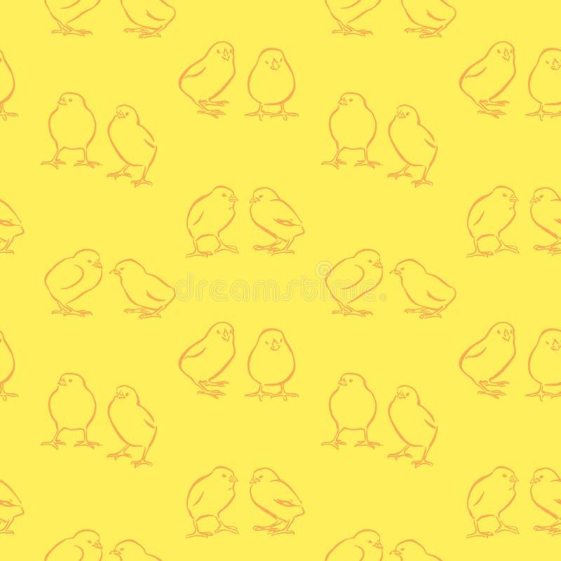 Fondo senza cuciture di giorno di Pasqua felice Polli gialli svegli di vettore Pulcini disegnati a mano decorativi modello, stile illustrazione vettoriale