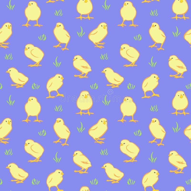 Fondo senza cuciture di giorno di Pasqua felice Polli gialli svegli di vettore su fondo blu Modello disegnato a mano decorativo d illustrazione vettoriale