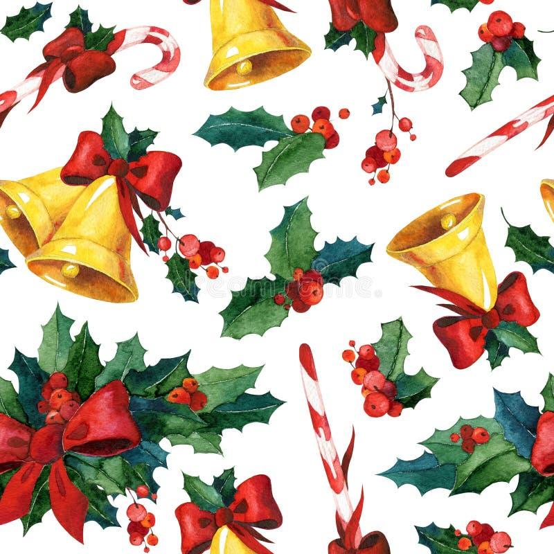 Fondo senza cuciture di Natale dell'acquerello con agrifoglio, le campane dorate, il bastoncino di zucchero ed il nastro rosso royalty illustrazione gratis