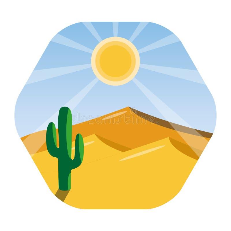 Fondo senza cuciture di paesaggio con il deserto ed il cactus illustrazione di stock