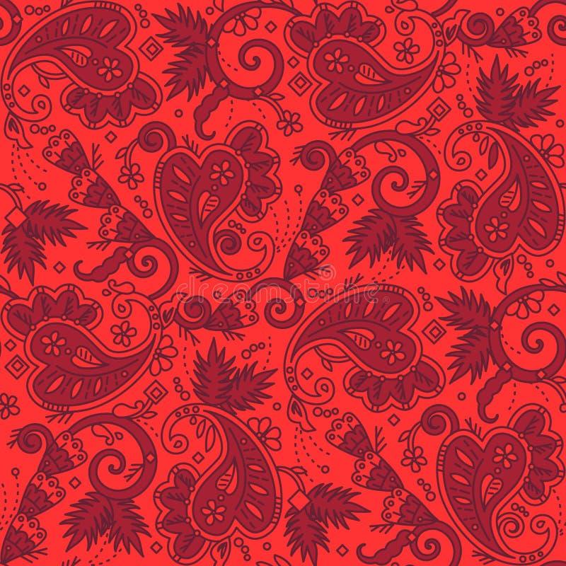Fondo senza cuciture di Paisley dei colori rossi di Natale royalty illustrazione gratis