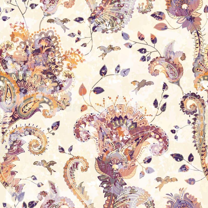 Fondo senza cuciture di Paisley, modello floreale Contesto ornamentale variopinto Carta da parati di colore con i fiori decorativ illustrazione di stock