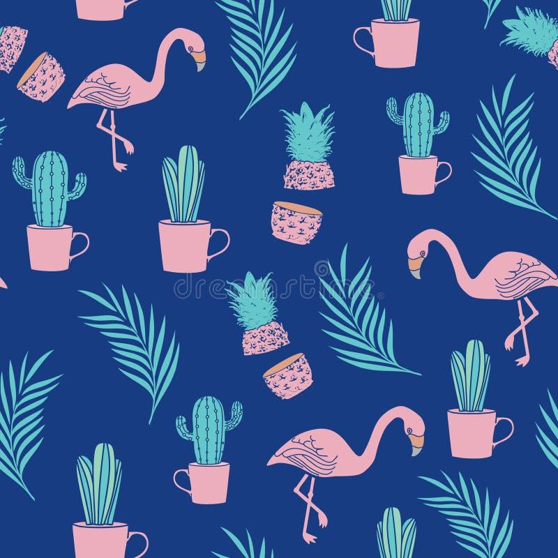 Fondo senza cuciture di progettazione del modello del fenicottero con il cactus e la foglia di palma illustrazione di stock