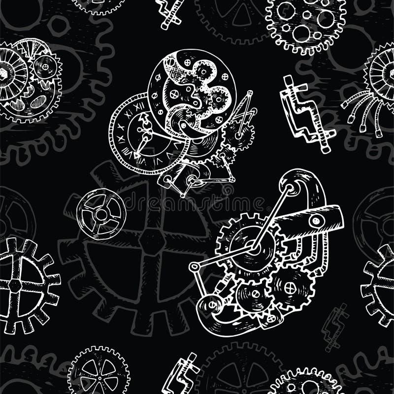Fondo senza cuciture di Steampunk con il vecchio meccanismo e pannocchie sul nero illustrazione di stock