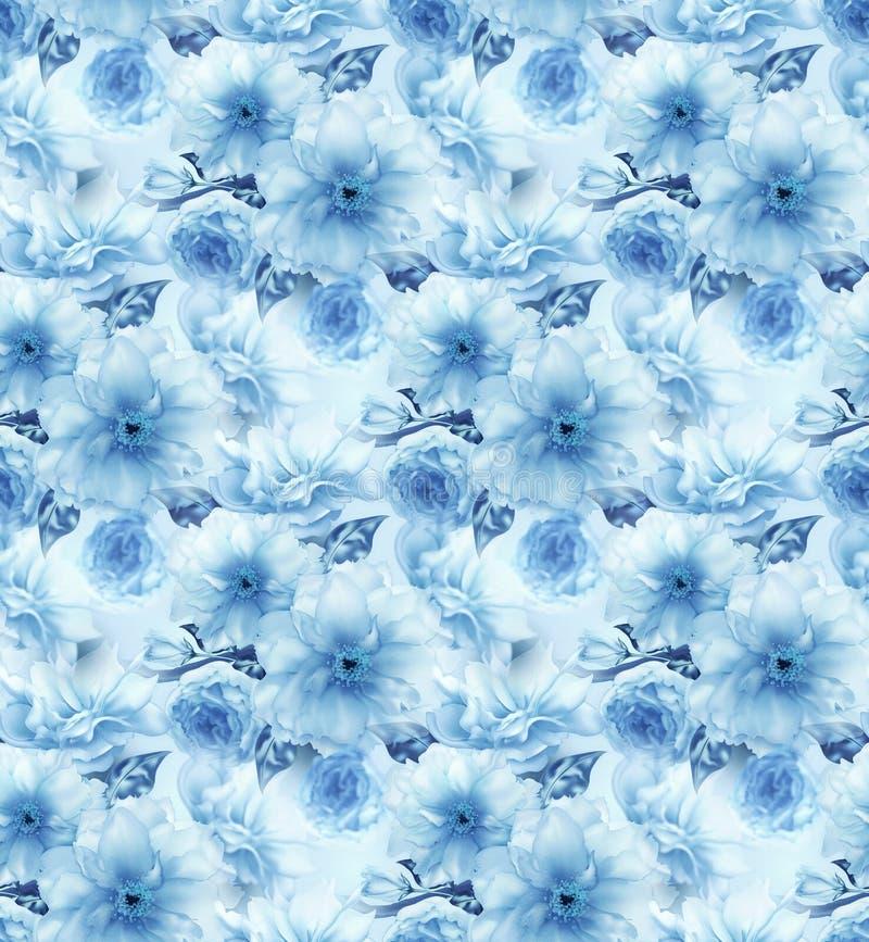 Fondo senza cuciture di struttura del modello della ciliegia di sakura di arte digitale blu floreale blu del fiore illustrazione di stock