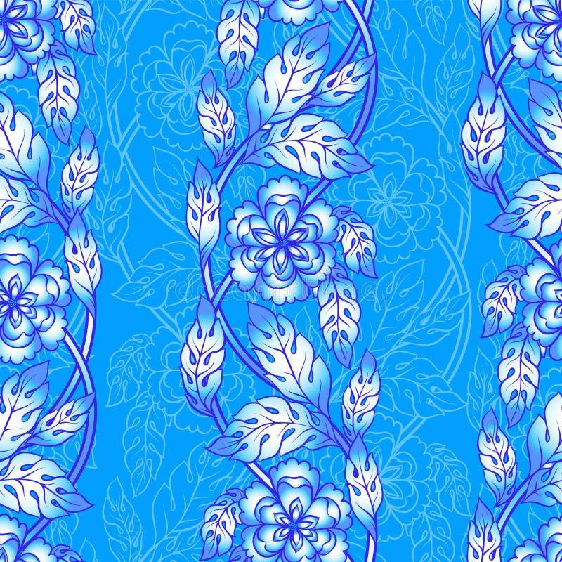 Fondo senza cuciture di vettore con i confini Ornamento complesso fatto dei fiori torti illustrazione di stock