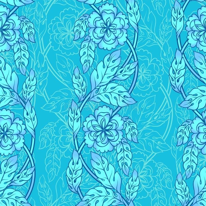 Fondo senza cuciture di vettore con i confini Ornamento complesso fatto dei fiori torti royalty illustrazione gratis