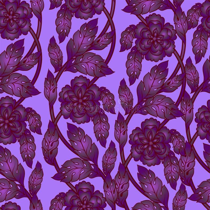 Fondo senza cuciture di vettore con i rami floreali Ornamento complesso fatto dei fiori torti illustrazione vettoriale