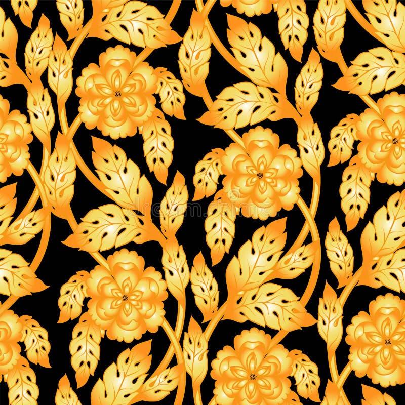 Fondo senza cuciture di vettore con i rami floreali Ornamento complesso fatto dei fiori torti royalty illustrazione gratis