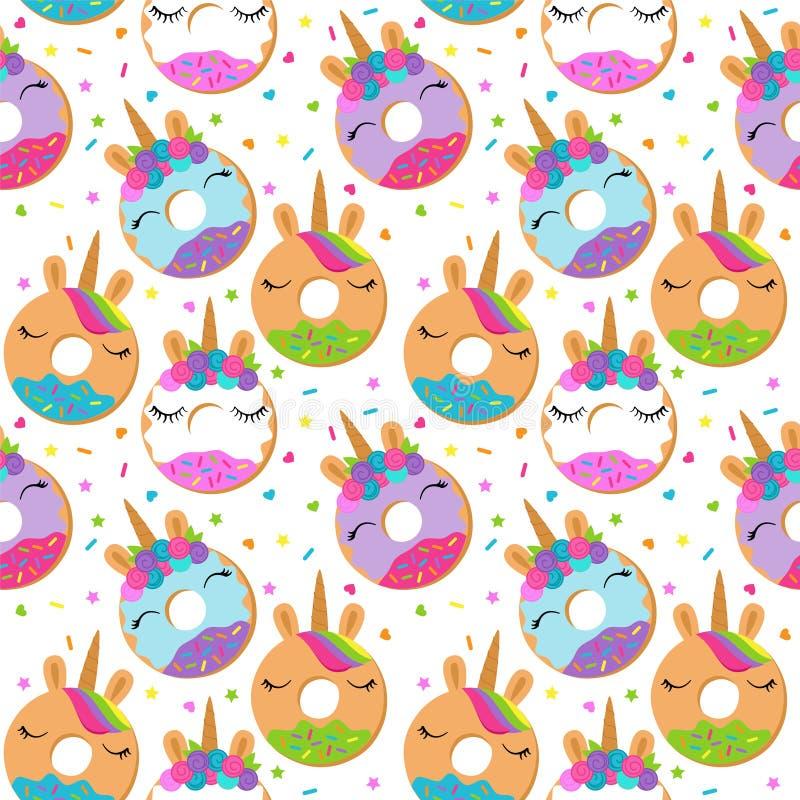 Fondo senza cuciture di vettore con Unicorn Themed Donuts illustrazione di stock