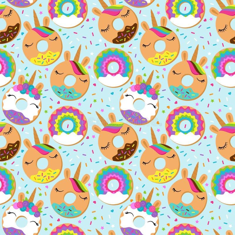 Fondo senza cuciture di vettore con Unicorn Themed Donuts royalty illustrazione gratis