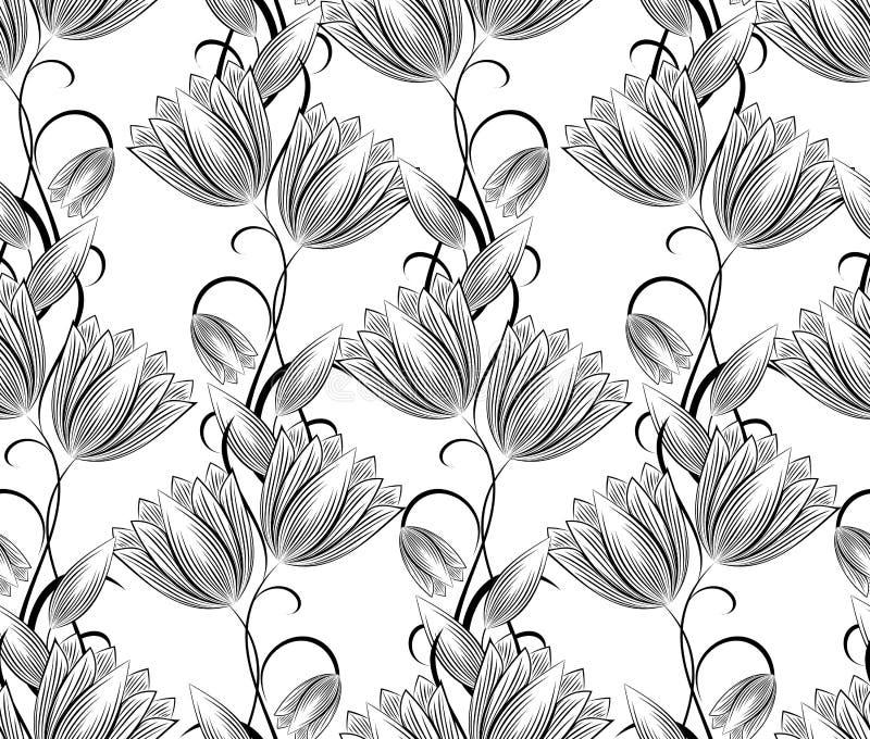 Fondo senza cuciture di vettore del damasco su bianco royalty illustrazione gratis