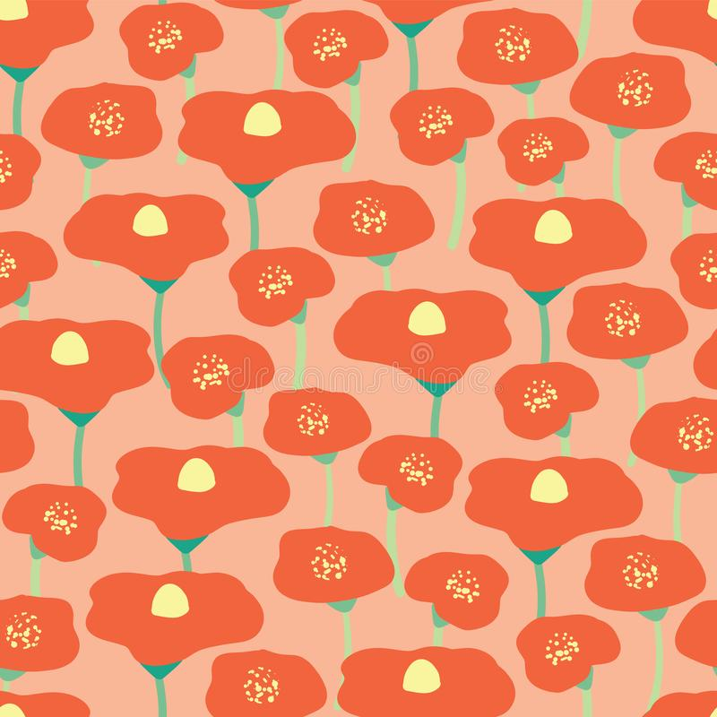 Fondo senza cuciture di vettore del giacimento di fiore del papavero Prato rosso dei papaveri sul fondo peachy di corallo di rosa illustrazione di stock