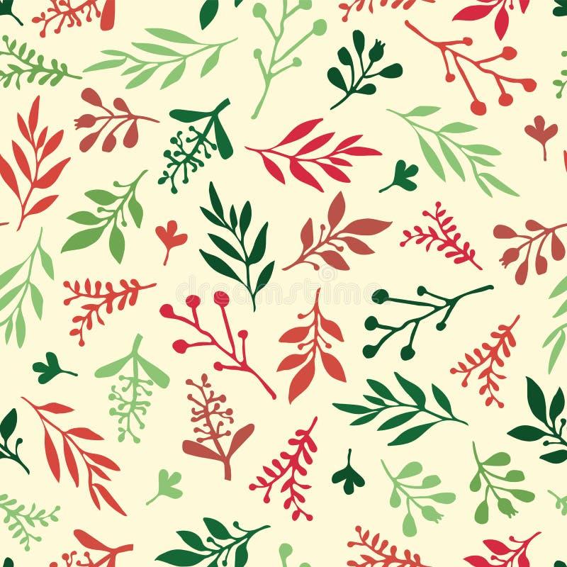 Fondo senza cuciture di vettore di festa con le foglie dell'estratto rosse, verde, beige Struttura della foglia semplice, modello illustrazione di stock