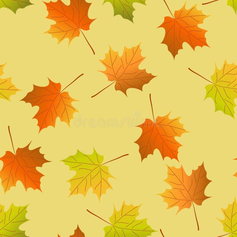 Fondo senza cuciture di vettore: foglie di acero di autunno, modello senza cuciture della foglia di acero royalty illustrazione gratis