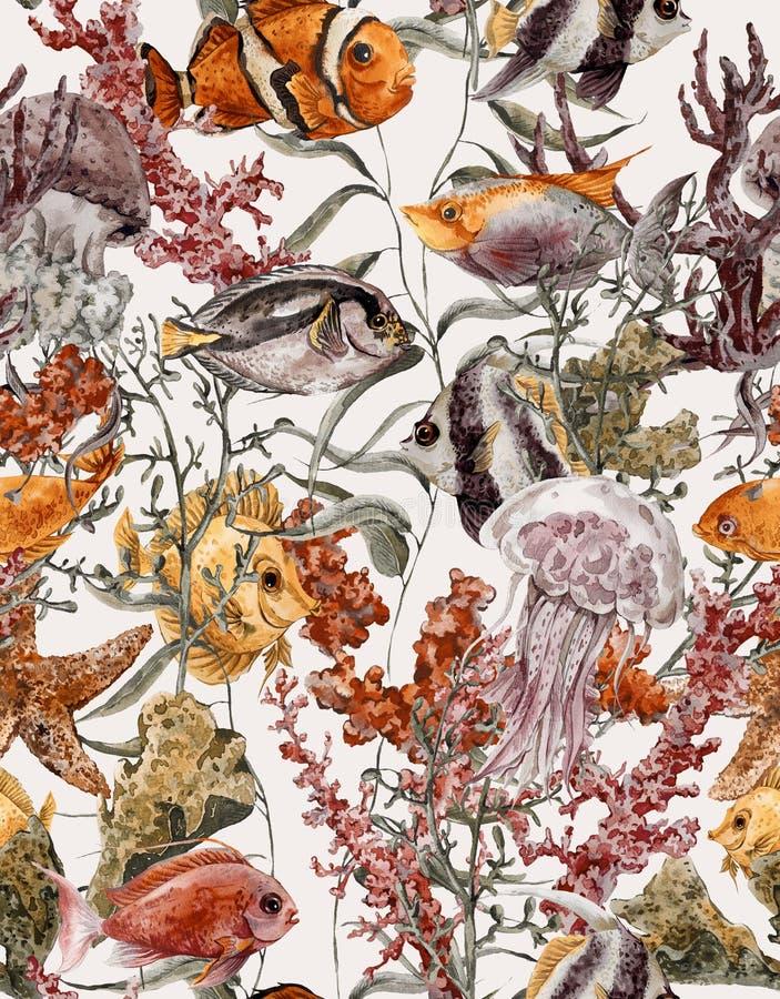 Download Fondo Senza Cuciture Di Vita Di Mare Dell'acquerello Illustrazione di Stock - Illustrazione di mare, spiaggia: 56891000