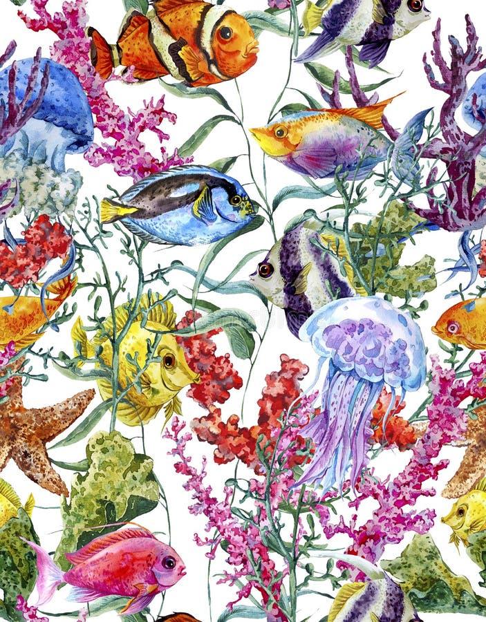 Download Fondo Senza Cuciture Di Vita Di Mare Dell'acquerello Illustrazione di Stock - Illustrazione di mare, nave: 56892157