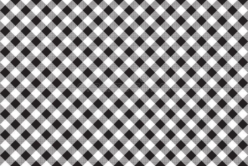 Fondo senza cuciture diagonale del controllo bianco nero della scacchiera illustrazione vettoriale