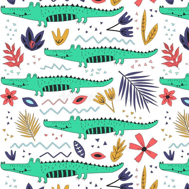 Fondo senza cuciture disegnato a mano con i coccodrilli ed i fiori illustrazione di stock