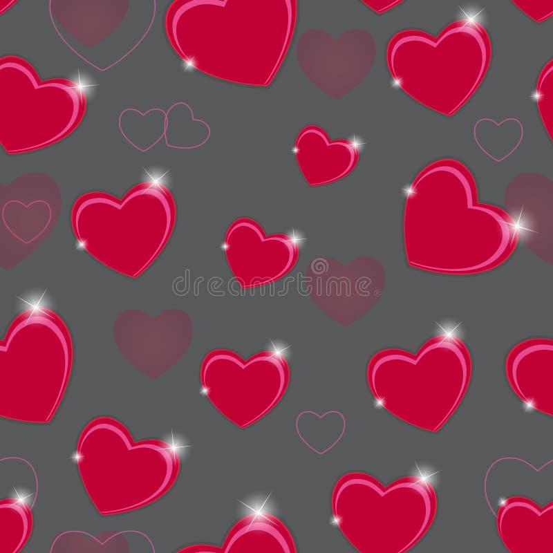 Fondo senza cuciture felice del modello di giorno di biglietti di S. Valentino royalty illustrazione gratis