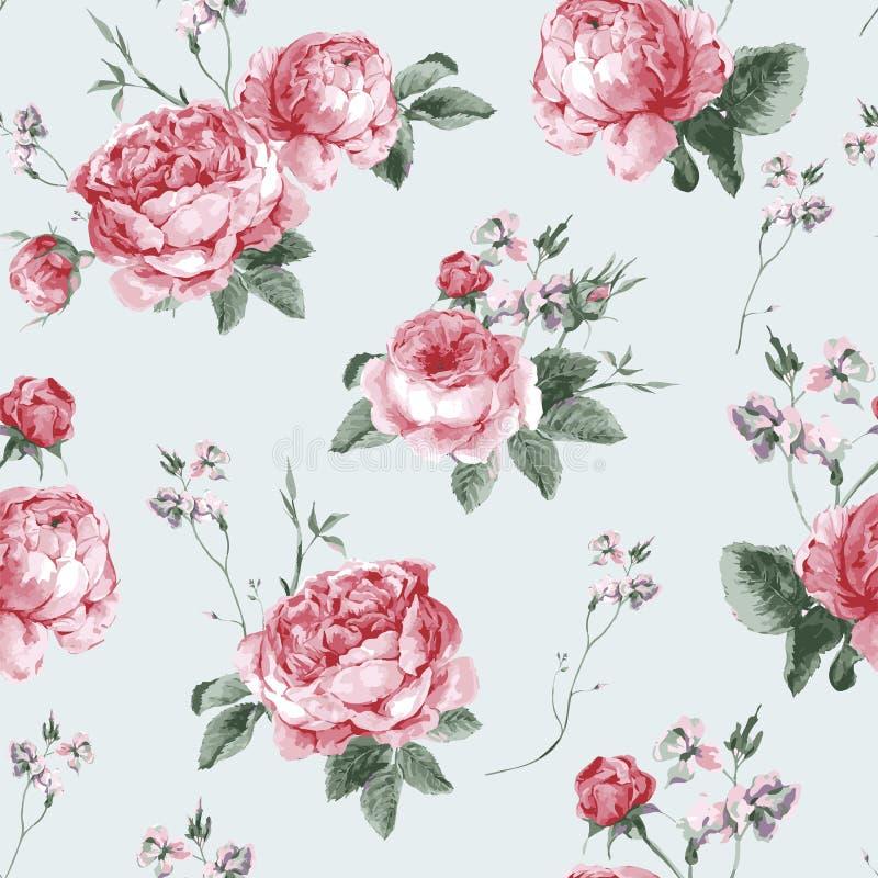 Fondo senza cuciture floreale d'annata con la fioritura illustrazione di stock