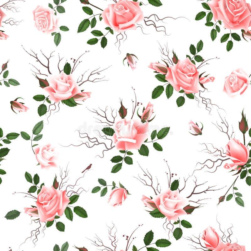 Fondo senza cuciture floreale d'annata con le rose rosa di fioritura, illustrazione di vettore royalty illustrazione gratis