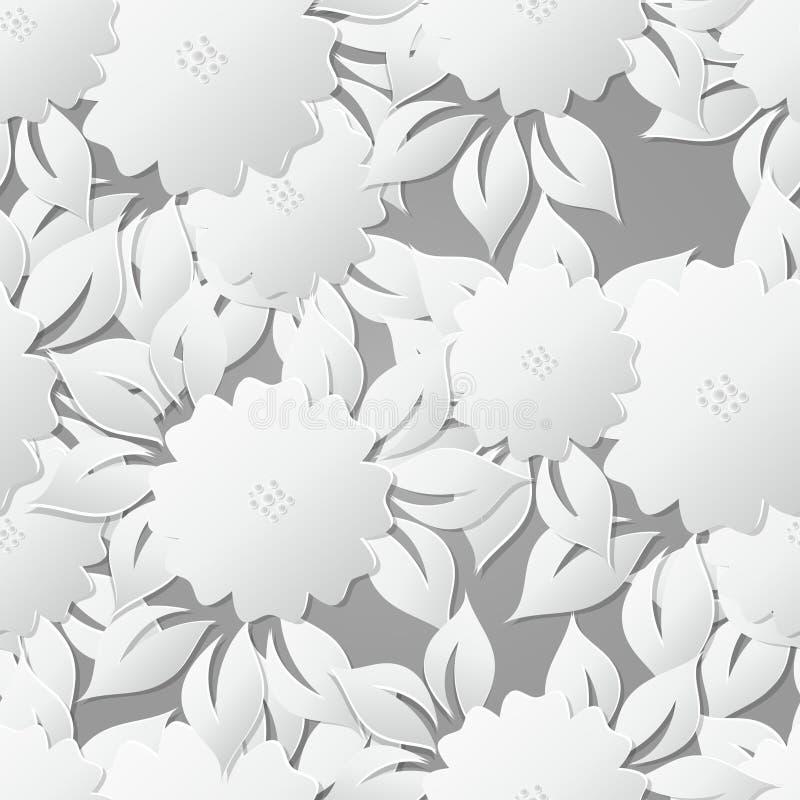 Fondo senza cuciture floreale del modello con gli elementi 3D con ombra illustrazione vettoriale