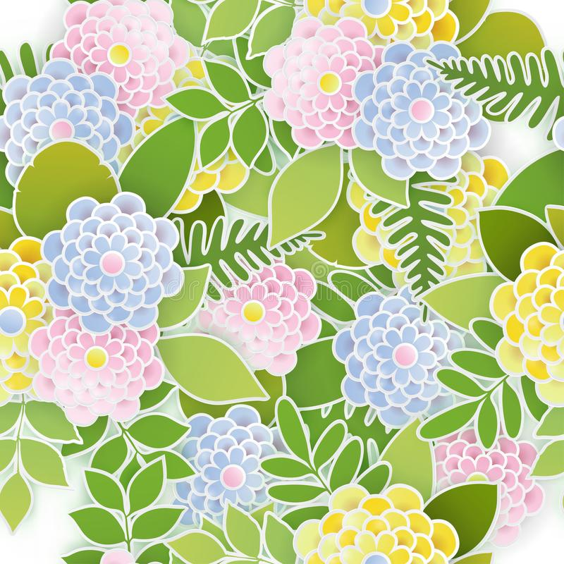 Fondo senza cuciture floreale elegante con i fiori di carta 3d illustrazione di stock
