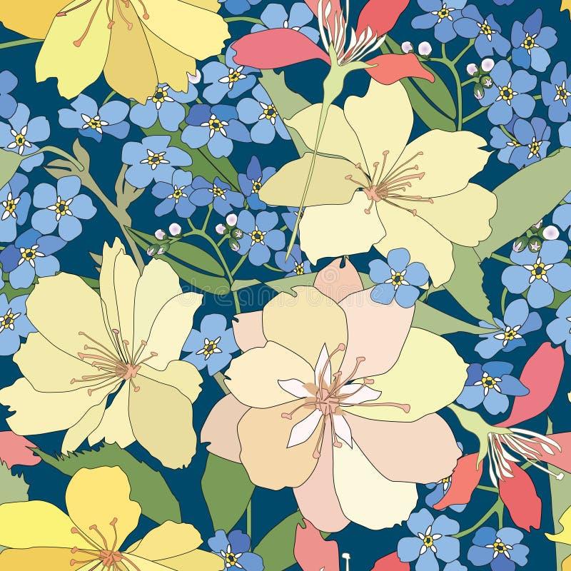 Fondo senza cuciture floreale. modello di fiore delicato. illustrazione vettoriale