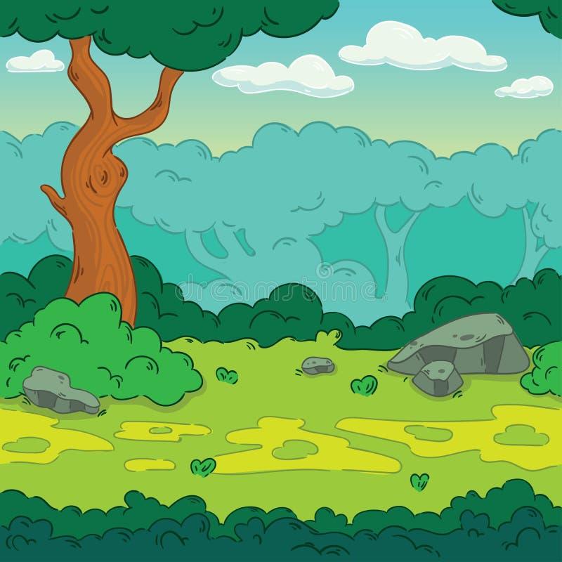 Fondo senza cuciture Foresta del paesaggio per progettazione del gioco Parallasse pronto royalty illustrazione gratis