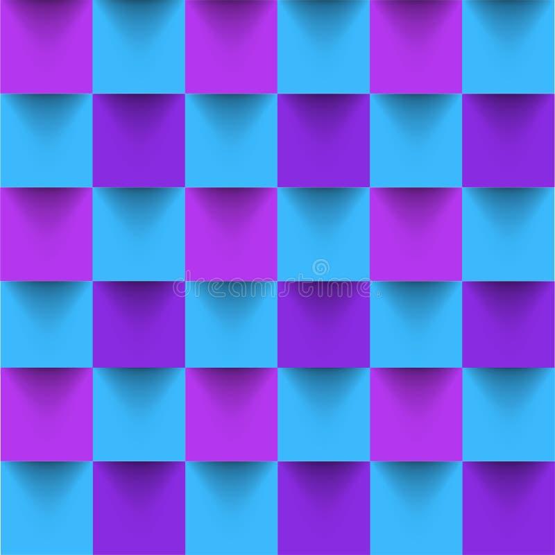 Fondo senza cuciture geometrico del quadrato luminoso ipnotico Vettore illustrazione di stock