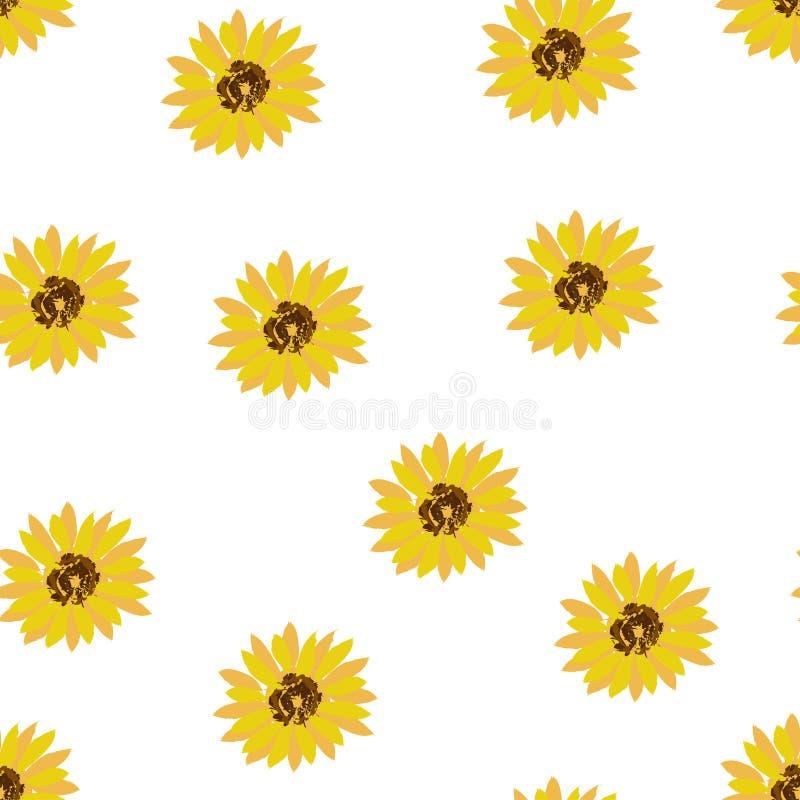 Fondo senza cuciture: girasoli gialli dei fiori su un fondo bianco Vettore piano royalty illustrazione gratis