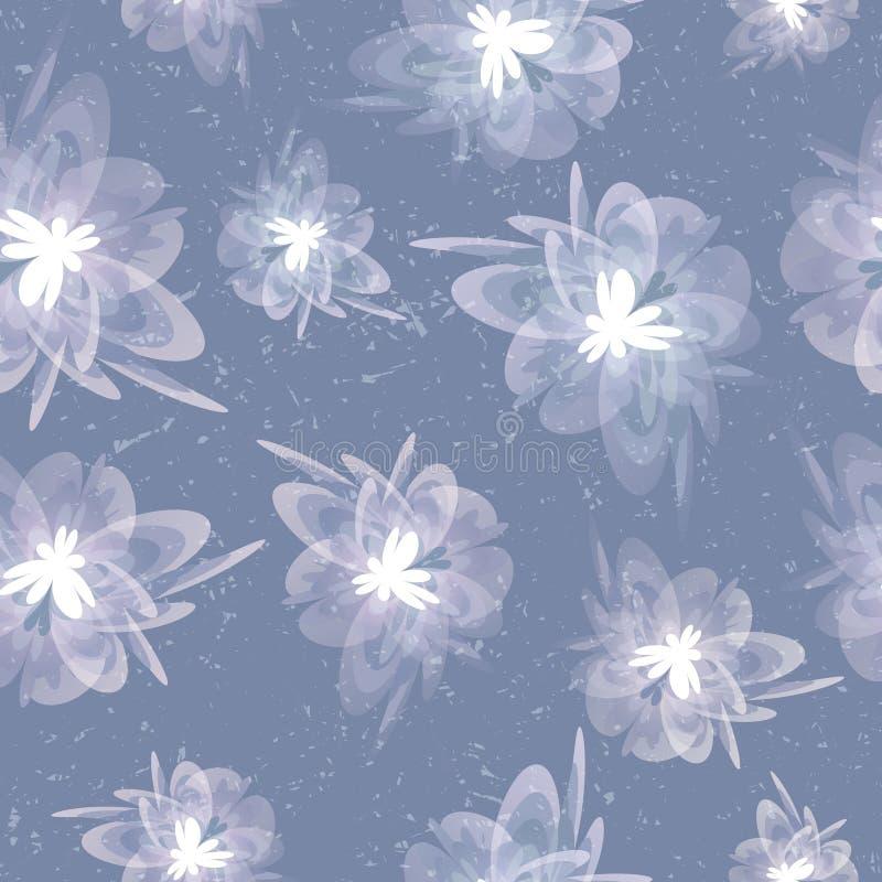 Fondo senza cuciture grigio floreale d'annata grungy vago illustrazione di stock