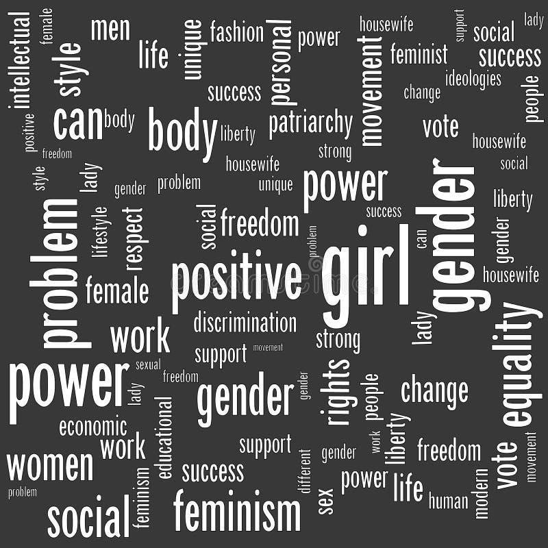 Fondo senza cuciture moderno con le parole del concepr di femminismo illustrazione vettoriale